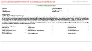 Business Development Manager Employment Contract | Agreements ...