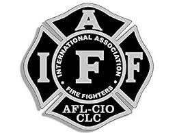black gray maltese shaped iaff afl cio sticker fire firefighter logo