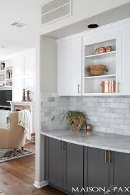 Twotoned Gray And White Cabinets Marble Subway Tile Carrara Countertops  A Cabinets With Countertops L87