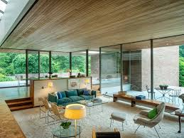 Ulrich Franzen's Dana House, built in 1960, features a sunken living room.  Image from Sotheby's, via Curbed.