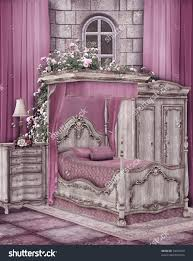 Lilac Bedroom Curtains Vintage Bedroom Pink Curtains Roses Stock Illustration 74623453