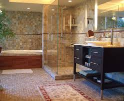 layouts walk shower ideas: contemporary bathroom interior design decorated with concrete flooring and mosaic wall design and walk in shower