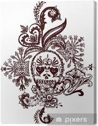 Obraz Paisley Lebka Tetování Na Plátně