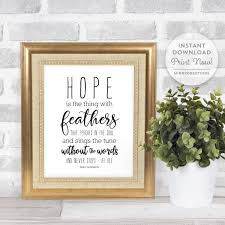 Emily Dickinson Quote Hope Is The Thing With Feathers Quote Famous Quotes Wall Art Subway Art Instant Download Printable File