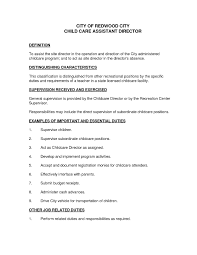 Child Care Responsibilities Resume Resume Cover Letter Template