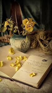 book and flower petals