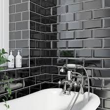 bathroom wall tiles bathroom wall titles victoriaplum com british ceramic tile metro bevel black gloss tile 100mm x 200mm