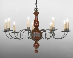 distressed red paint and aged tin metal wood chandelier lchsc for inspirations 15