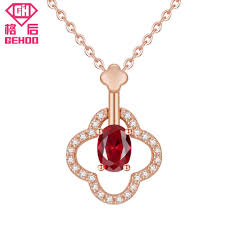 2019 gehoo 2018 new 925 ruby necklace sterling silver paved cz four leaf clover design pendant charm jewelry for women mom nice gift from bojiban