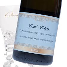 Prosecco Light Blue Label Personalised Prosecco Label Congratulations On Your New Home