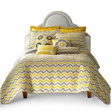 yellow and gray chevron quilt set and