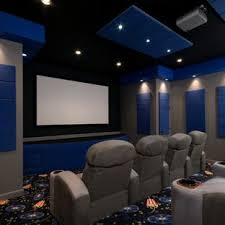 home theater floor lighting. Trendy Carpeted And Multicolored Floor Home Theater Photo In Richmond With Gray Walls A Projector Lighting