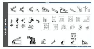 stairs in plan and elevation view cad blocks
