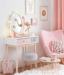 blush pink bedroom with copper accents