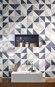 Bathroom:Navy Bathroom Tiles Geometric Bathroom Tiles Blue And White  Bathroom Style Simple Design Theme