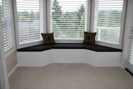 White Serene Bay Window Seats With Black Cushions And Pillows Also Window  Blinds Storage Underneath Gray ...