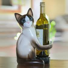 wood wine holder cat hug artisan handcrafted wood cat wine holder from