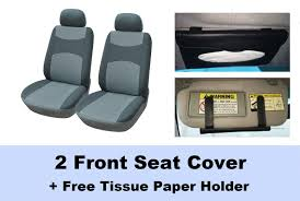 216002 grey 2 front fabric car seat covers free sun visor tissue paper holder clip compatible to honda civic cr z fit 2017 2007