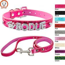 bling personalized custom leather dog collar