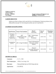 Resume Format For Freshers Bca Resume Format For Hers Free Download ...