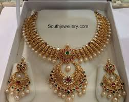 Antique Gold Jewellery Necklace Designs Antique Gold Necklace Gold Pearl Necklace Indian Jewelry