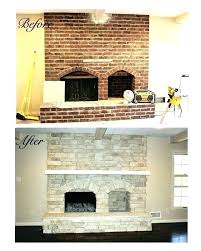 refinish brick fireplace fireplace cost to reface brick fireplace with stone veneer