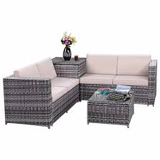 costway 4pcs patio rattan wicker furniture set sofa loveseat cushioned w storage box 0