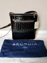 nwt arcadia 1371 patent black leather genuine cross handbag purse dustbag