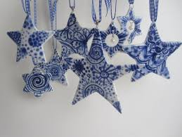 Delft Star ornament - Hand painted Blue and white heirloom ...