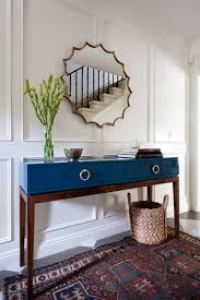 hallway table and mirror. Blue Console Table In Foyer // Entry Way Hallway And Mirror