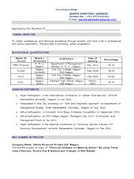 Sample Resume Format For Mba Finance Freshers Resume Template Ideas