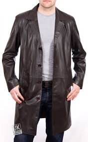 men s 3 4 length brown leather coat fynn main