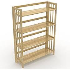 Stony-Edge No Assembly Folding Bookcase, 4 Shelves, Media Cabinet Storage  Unit,