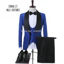 Top Suit Design Us 68 53 23 Off 2018 Latest Coat Pant Design Classic Royal Blue Flower Wedding Suits For Men Best Man Blazer Groom Suit Tuxedos Prom Party Suits In