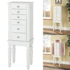 simple floor standing white jewelry armoire