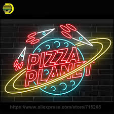 custom neon sign pizza planet bulbs recreation room real glass for light signs decor 13