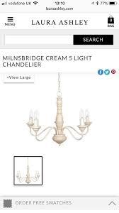 laura ashley milnsbridge cream chandelier light new shabby chic