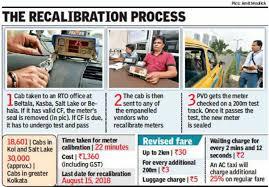 Bye Bye Charts Cabs Get New Meters Kolkata News Times