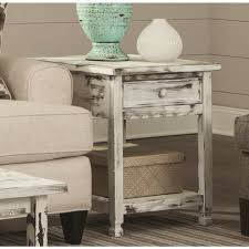 O Alaterre Furniture Country Cottage Rustic White Antique End Table