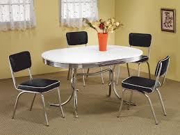 1950s style chrome retro dining table set black chairs kitchen table chair sets