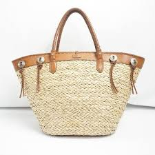 beige ralph lauren straw and brown leather tote bag for