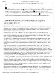 communication skill importance english language essay communication