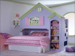 f funny shared kids bedroom design ideas with house bunk beds which has sweet pink striped bed sheet as well as bookshelf on the right side 1024x768 amusing cool kid beds design
