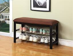 ... Storage Ideas, Mesmerizing Shoe Storage Benches Organizer Design With  Cushions And Shelf And Painting And ...