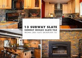 brown slate mosaic subway backsplash tile