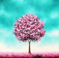 pink cherry blossom tree painting original oil painting whimsical landscape painting contemporary textured tree art 10x10 beauty in the bloom