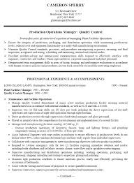 Manufacturing Manager Resume Samples Manufacturing Plant Manager