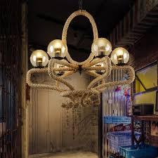 industrial vintage chandelier flower basket rope with glass shade for indoor lighting