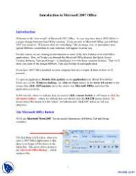 Introduction To Microsoft 2007 Office Ms Word Lecture Handout Docsity
