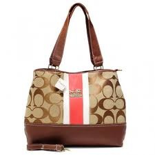 Coach Hamptons Weekend Signature Stripe Large Khaki Totes AEZ